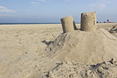 Sandcastle on a beach Stock Photo