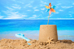 Sandcastle On Beach Royalty Free Stock Photos