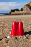 Sandcastle bucket beach sand Cornwall Royalty Free Stock Image