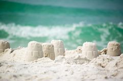 Sandcastle on the coast of ocean Royalty Free Stock Image