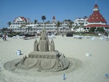 Sandcastle. A sandcastle in front of the historic Hotel Del Coronado in Coronado beach, California Royalty Free Stock Photos