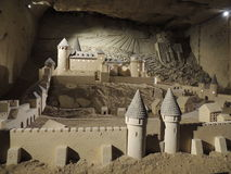 sandcastle Gammal slott - konst från kalksten Arkivbild
