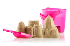 Sandcastle isolated over white Royalty Free Stock Image