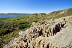 Sandcastle jezioro Diefenbaker zdjęcie stock