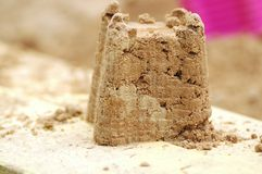 Sandcastle made by a child Stock Photo