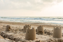 Sandcastle on a mediterranean beach Stock Photo