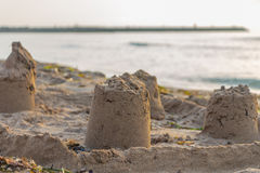 Sandcastle on a mediterranean beach (Guardamar del segura, Spain) Royalty Free Stock Photo