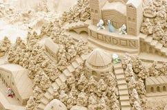 Sandcastle na plaży podczas letniego dnia Londyn 28 05 2016, Zdjęcie Stock