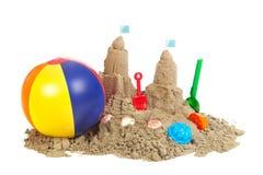 Sandcastle på stranden royaltyfri foto