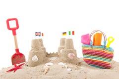 Sandcastle przy plażą zdjęcia stock
