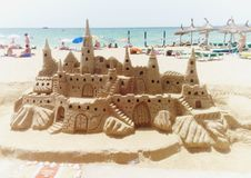 Sandcastle at S& x27;Arenal. Sandcastle at the beach from S& x27;Arenal, Mallorca, Spain stock photos