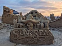 Sandcastle sculpture Stock Photos