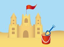 Sandcastle and shovel vector Stock Photo