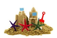Sandcastle with starfishes Royalty Free Stock Photo