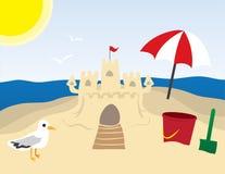 Sandcastle am Strand Lizenzfreie Stockbilder