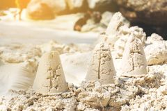 Sandcastle summer on beach royalty free stock photography
