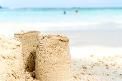 Sandcastle summer on beach royalty free stock photos