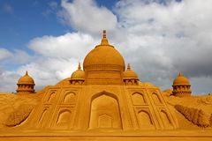 Sandcastle of Taj Mahal Stock Images