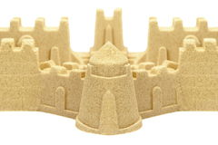 Sandcastle Wall And Towers Isolated On White Background Stock Photo