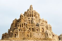 Sandcastle. Wonderful sandcastle under cloudy sky Royalty Free Stock Images