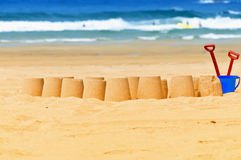 Sandcastles. A lot of sandcastles in the beach Stock Photo