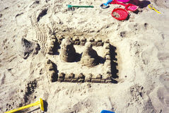 Sandcastles. At the beach Stock Photography