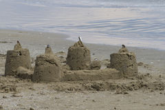 Sandcastles on the beach Royalty Free Stock Image
