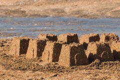 Sandcastles on beach Royalty Free Stock Image