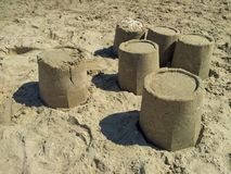 Sandcastles on beach Royalty Free Stock Photography