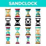 Sandclock Icon Set Vector. Timer Symbol. Interval Sandclock Icons Sign. Alarm Hourglass Pictogram. Line, Flat royalty free illustration