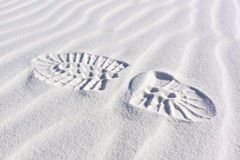 Sanddüne-Kräuselungen bootprint Stockfotos