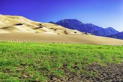 Sanddünen mit Bergen Sangre de Cristo Lizenzfreies Stockbild