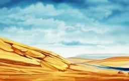 Sanddünen und Nebenfluss an einem bewölkten Tag vektor abbildung