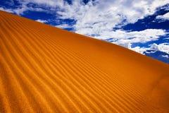 Sanddyn i öken under den blåa skyen Royaltyfri Fotografi