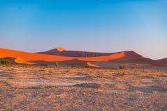 Sanddyn i den Namib öknen på gryning, roadtrip i den underbara Namib Naukluft nationalparken, loppdestination i Namibia, Afr Fotografering för Bildbyråer