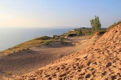 Sanddyn längs Lake Michigan, USA Arkivfoto