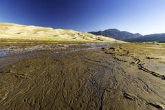 Sanddyn med Sangre de Cristo berg i bakgrunden Royaltyfria Foton