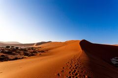 Sanddyn på Sossusvlei, Namibia Arkivfoton