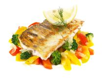 Sander Fillet with Vegetables - Pikeperch royalty free stock photos