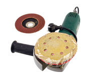 Sander grinder tool worn sandpaper head Royalty Free Stock Image