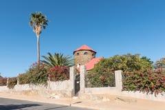 Sanderburg is the smallest of three castles in Windhoek. WINDHOEK, NAMIBIA - JUNE 16, 2017: Sanderburg, built between 1917 and 1919, is the smallest of three stock photo