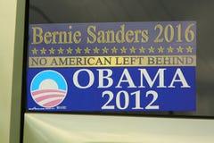 Sanders 2016 της Bernie αυτοκόλλητο προφυλαχτήρα προεδρικών εκλογών Obama 2012 Στοκ Φωτογραφία
