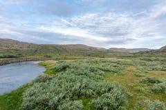 Sandfjordelva è un fiume sulla penisola di Varanger, Finnmark, Norvegia Immagine Stock Libera da Diritti