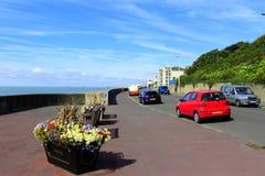 Sandgate Esplanade Folkestone Kent UK. Beautiful view from Sandgate Esplanade A259 road on sunny summer day Folkestone Kent England UK stock image