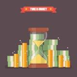 Sandglass con denaro contante nello stile piano Fotografie Stock