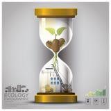 Sandglass global ekologi och miljö Infographic Arkivfoto