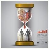 Sandglass Health And Medical Human Organ Infographic. Design Template Stock Image