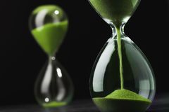 Sandglass, hourglass with sand. Time is running out. Speed of decision making in business Royalty Free Stock Photography