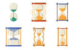 Sandglass icon time flat design history second old object and sand clock hourglass timer hour minute watch countdown Royalty Free Stock Photos