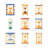 Sandglass icon time flat design history second old object and sand clock hourglass timer hour minute watch countdown. Flow measure vector illustration royalty free illustration